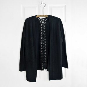 Sandro Cashmere Cardigan Lace Up Corset Back
